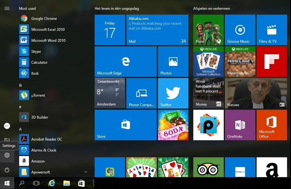 Windows 10 in het Nederlands