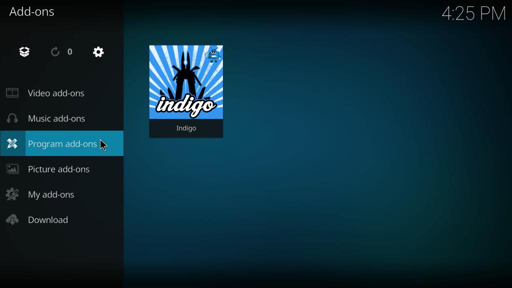 Indigo als tool op Kodi 17.0